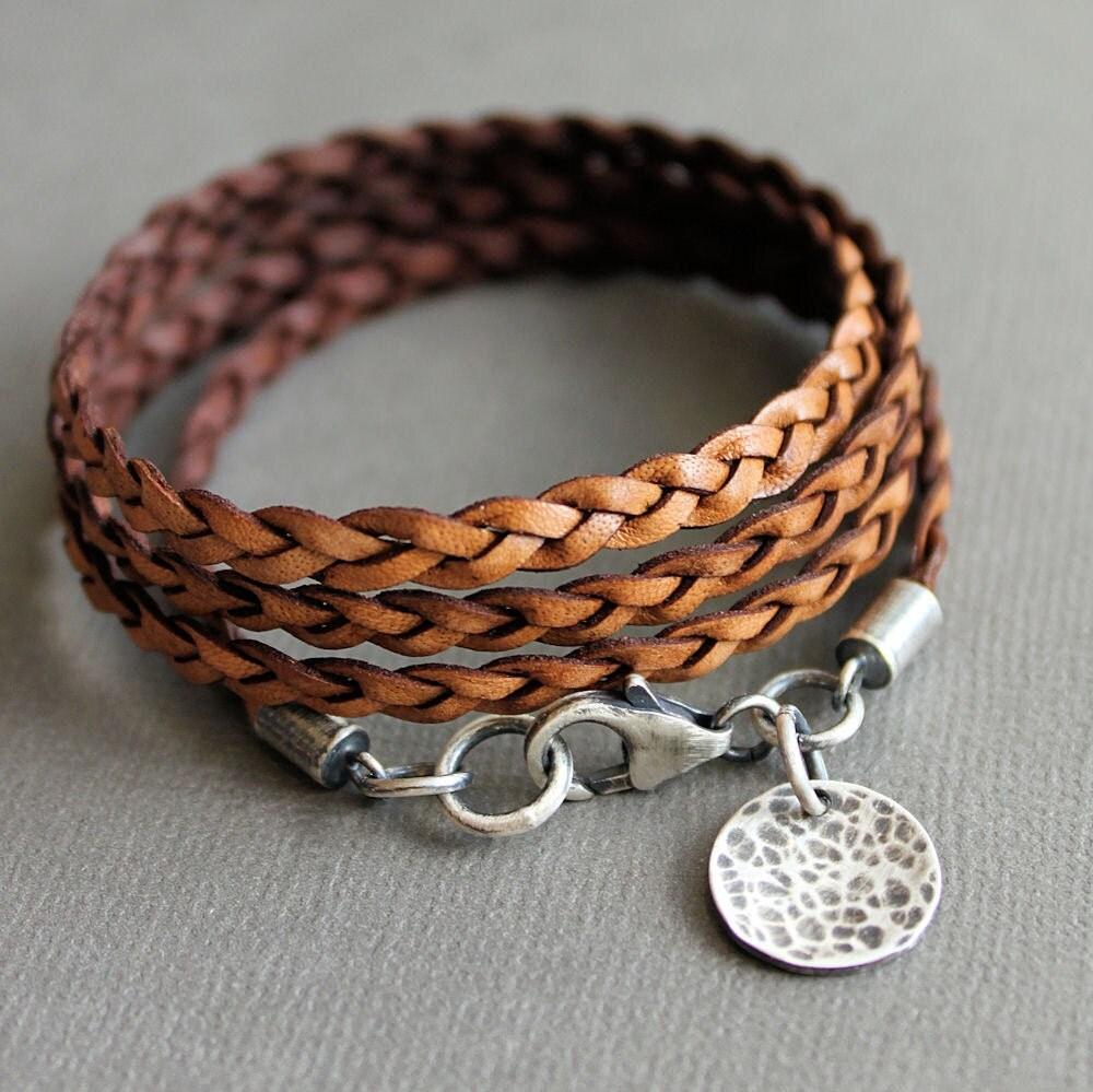 leather wrap bracelet brown thin flat braid by lynntodddesigns