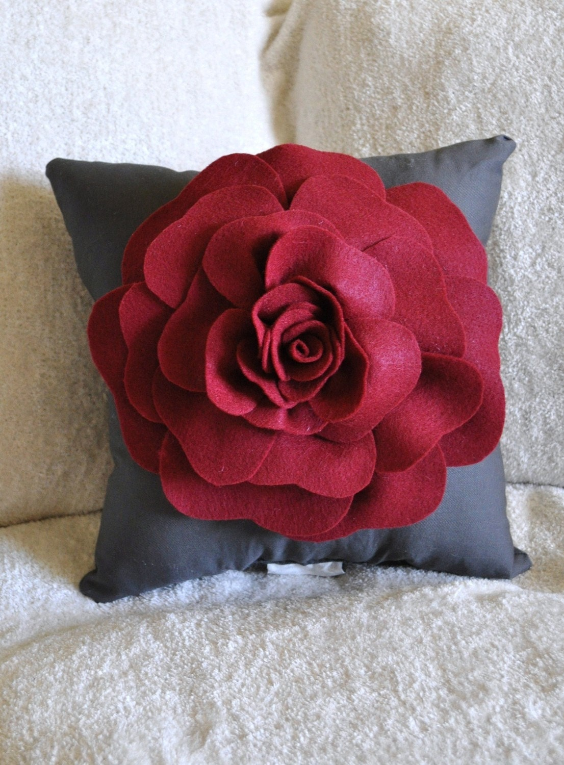 Pillow Throw Decor Etsy : Gray Decorative Pillow Rose Pillow Ruby Red on Grey by bedbuggs