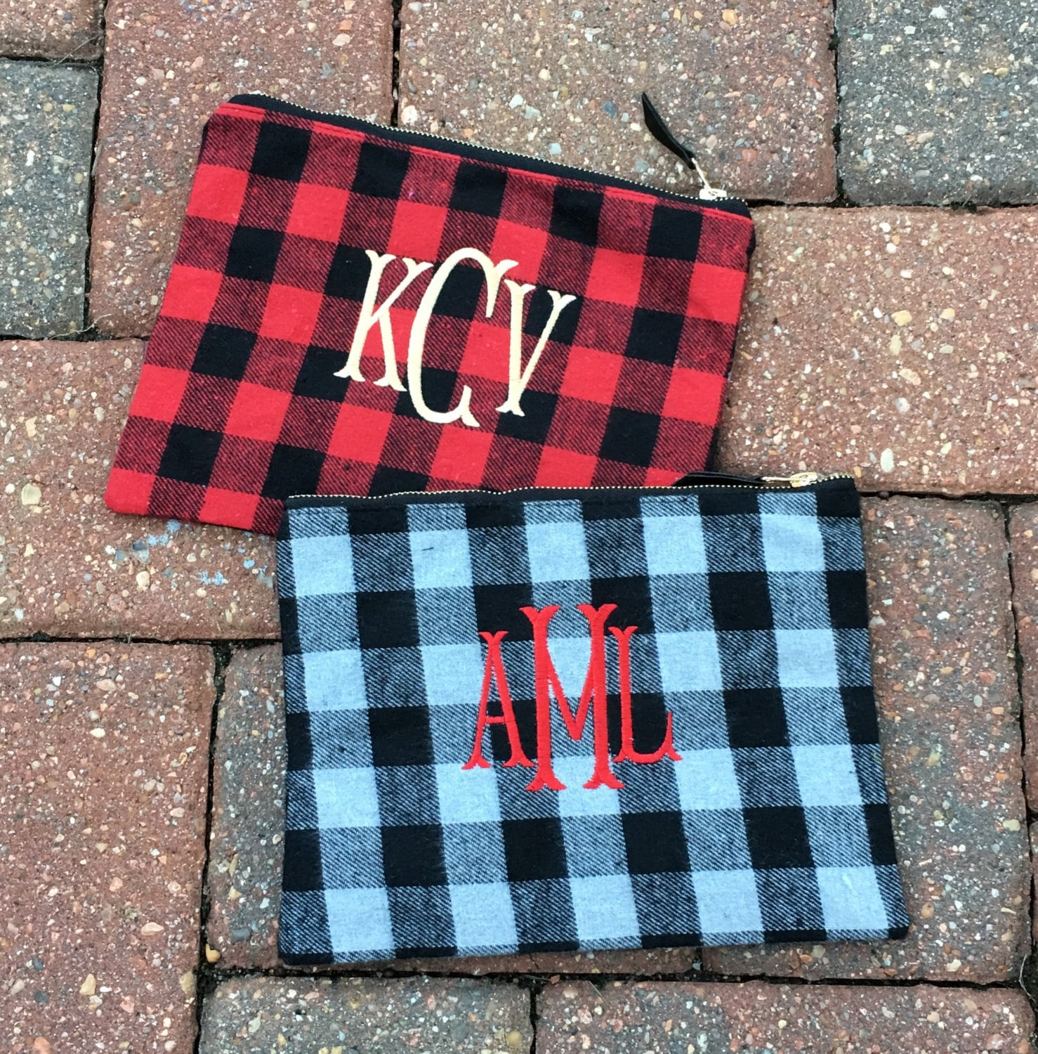 Monogrammed flannel shirts for bridesmaids