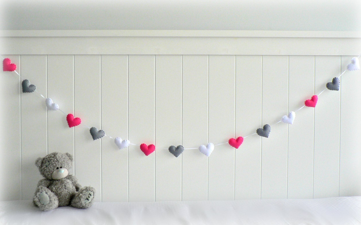 Heart banner/ garland/ bunting - Bright pink, grey and white - birthday decor - gifts - custom made - LullabyMobiles