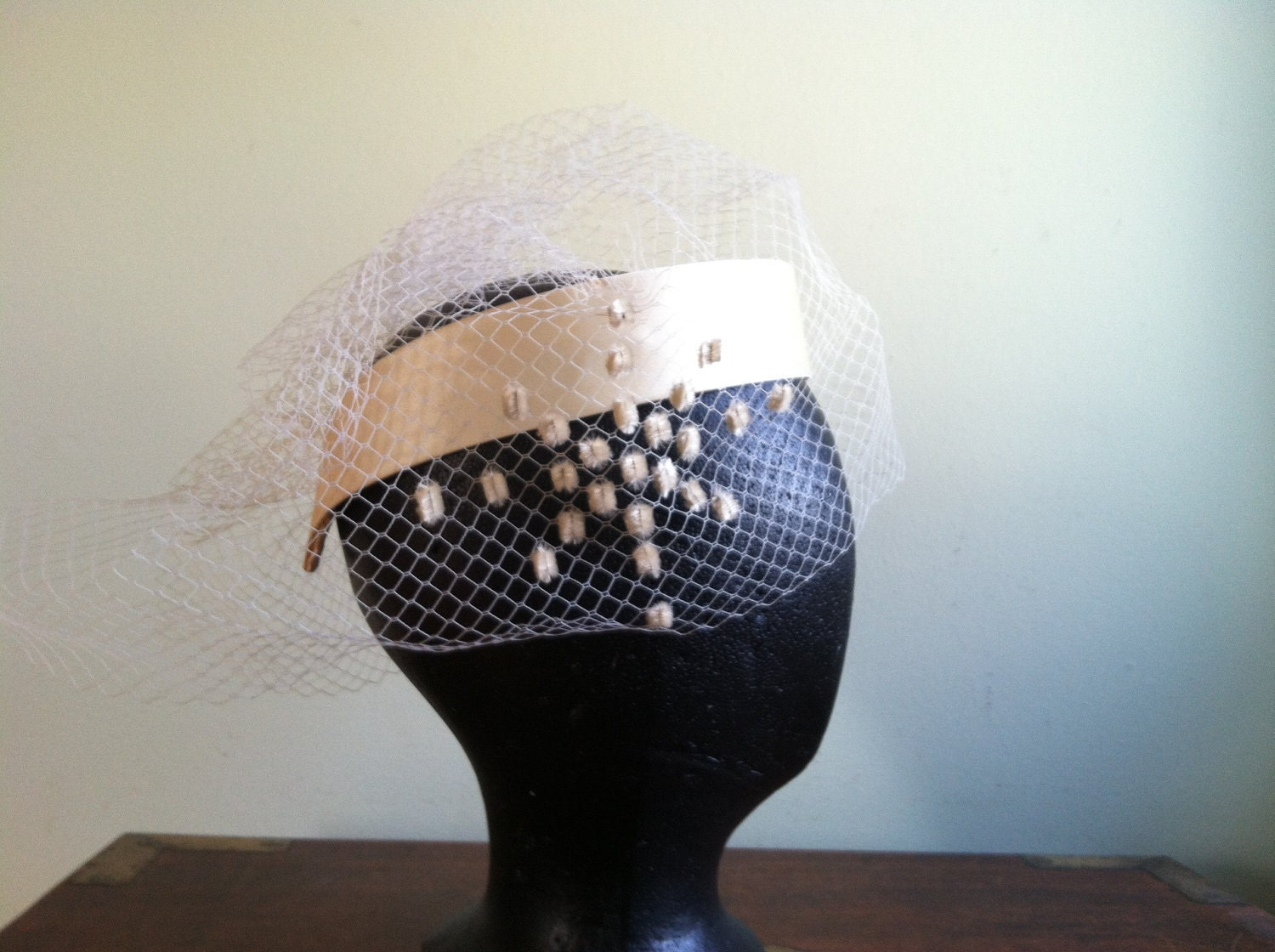 Headpiece with Veil in Cream