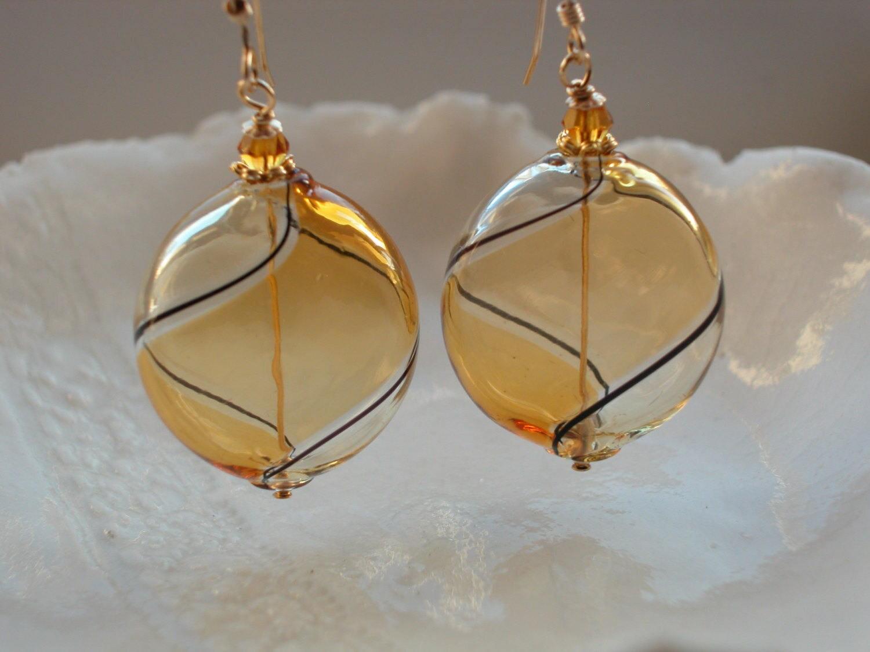 Amber Glass Earrings Venetian Murano Glass