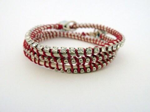 Set of 2 bracelets / ball chain & rhinestone friendship bracelet set / white red / valentine's day sweetheart - sukoshishop