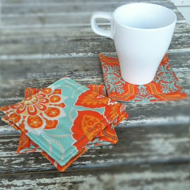 Fabric Coaster Set of Four // orange turquoise // retro style accessories  // flower fabric // fresh shops - jerseymaid