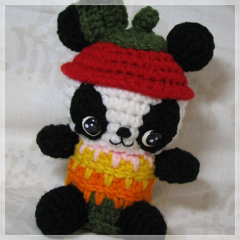 Amigurumi Apple Panda Chibi Crochet Plush