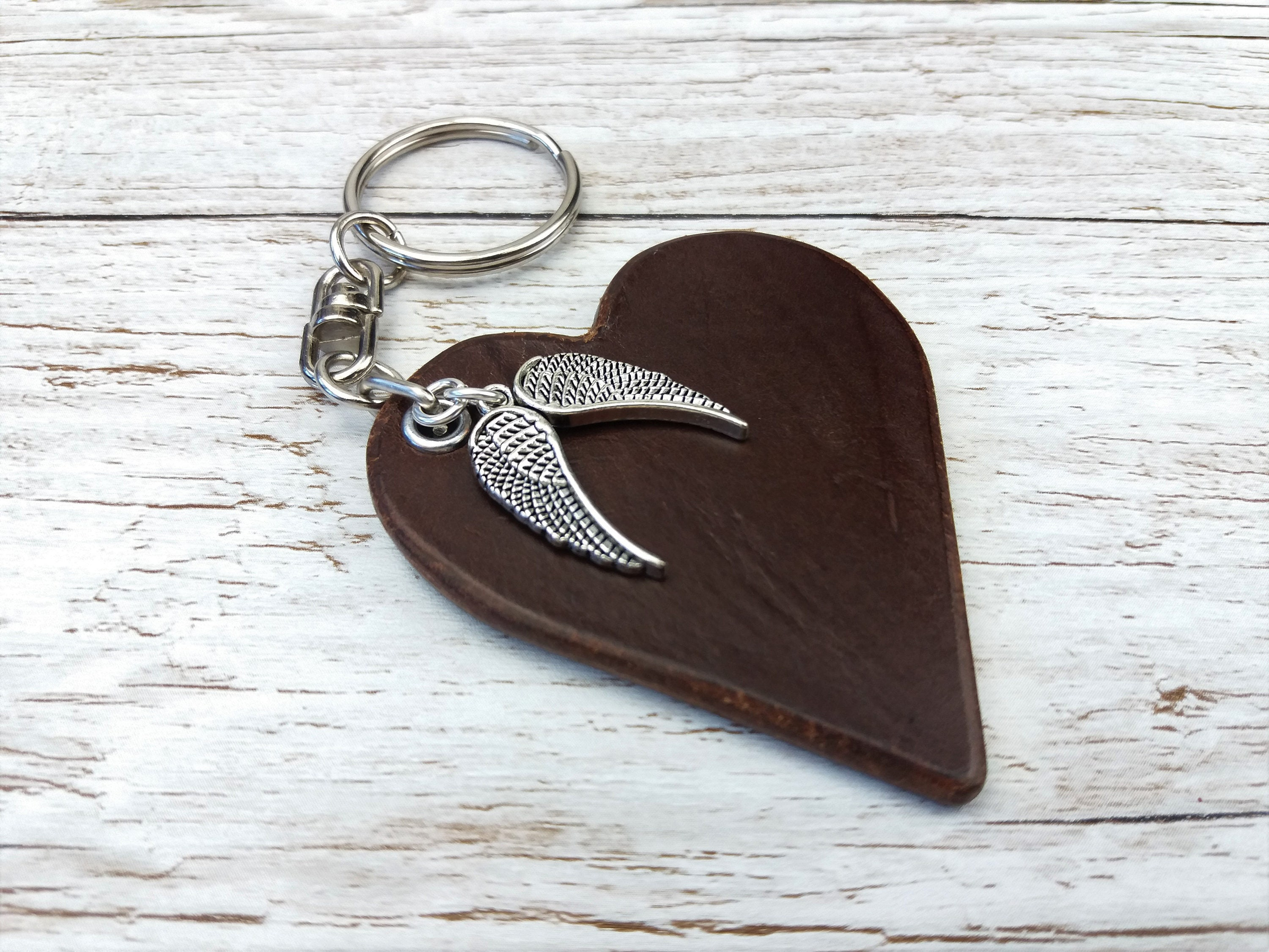 Leather Anniversary  3rd Anniversary Gift  3rd Wedding Anniversary  Leather Keyring  Leather Gift  Keychain Charms  Wings Charm