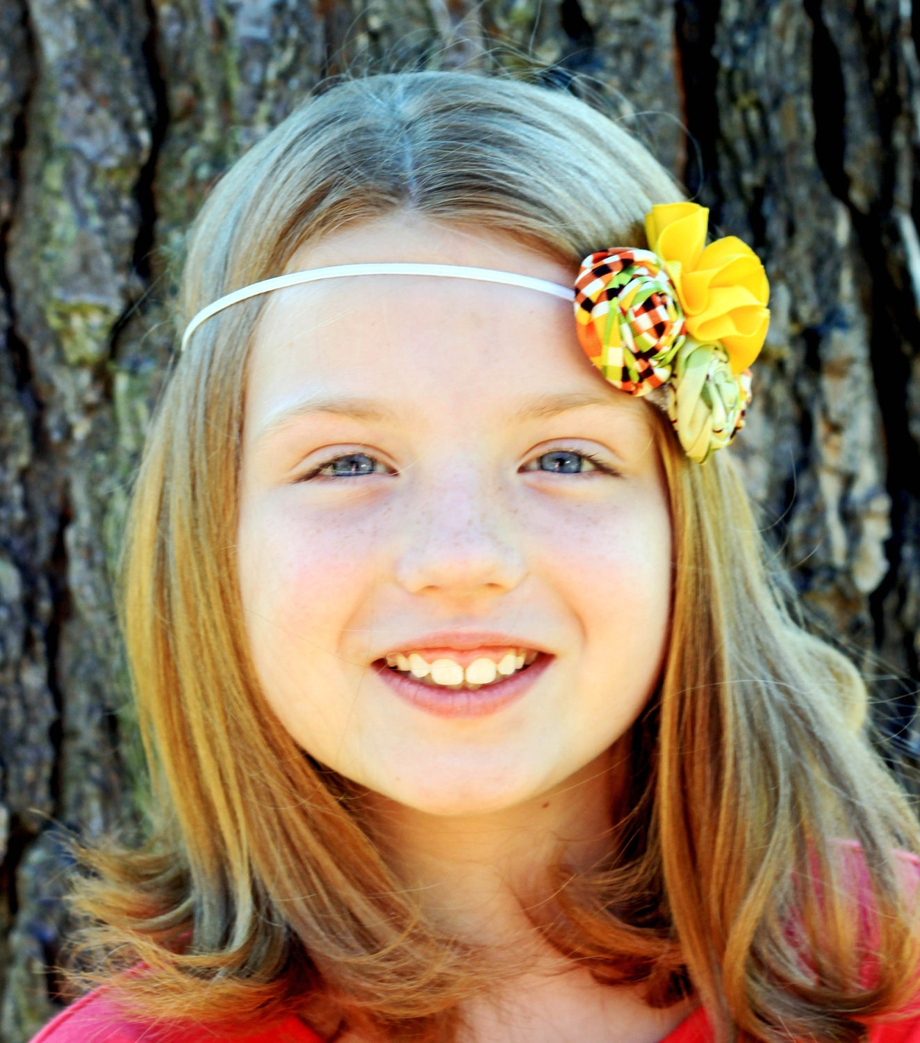 Fall Rosette Headband - Orange Plaid, Green, and Yellow - All Sizes Available - Elastic Headband or Plastic and Metal Headbands available