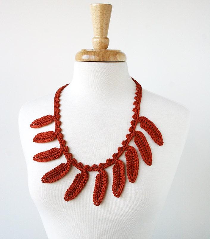 Fall Fashion - Silk Crochet Necklace / Lariat - Terra Cotta Rust Orange - Fiber Art Jewelry - ElenaRosenberg