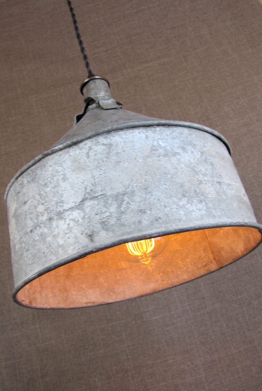 Sourdough Farm Funnel, Upcycled Lighting with Edison Bulb