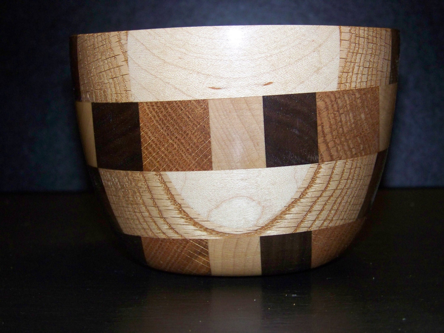 maple, red oak and walnut food safe bowl - georgekostiou