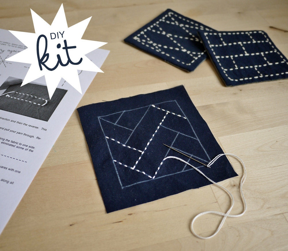 Sashiko Embroidery Kit DIY Coasters Set Of 4 By SakePuppets