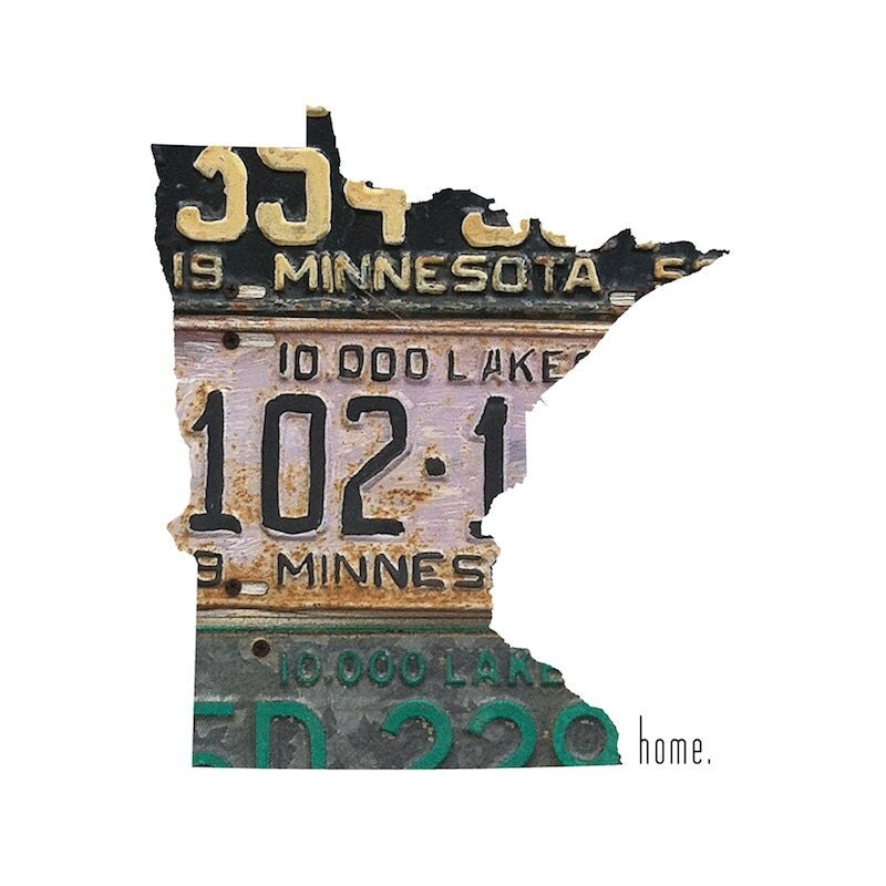 Minnesota Home | Land of 10,000 Lakes | State Outline | Vintage License Plate Photograph | Home Decor | Dorm Decor | Roots | Affordable Art - TheTinOwl