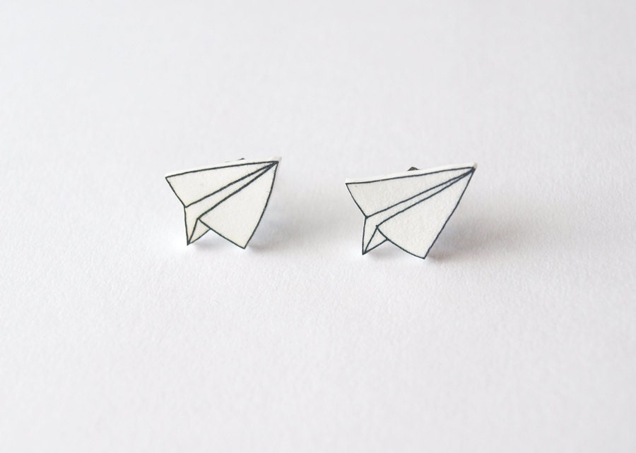 Paper Plane Stud Earrings - Made To Order - rareindeed