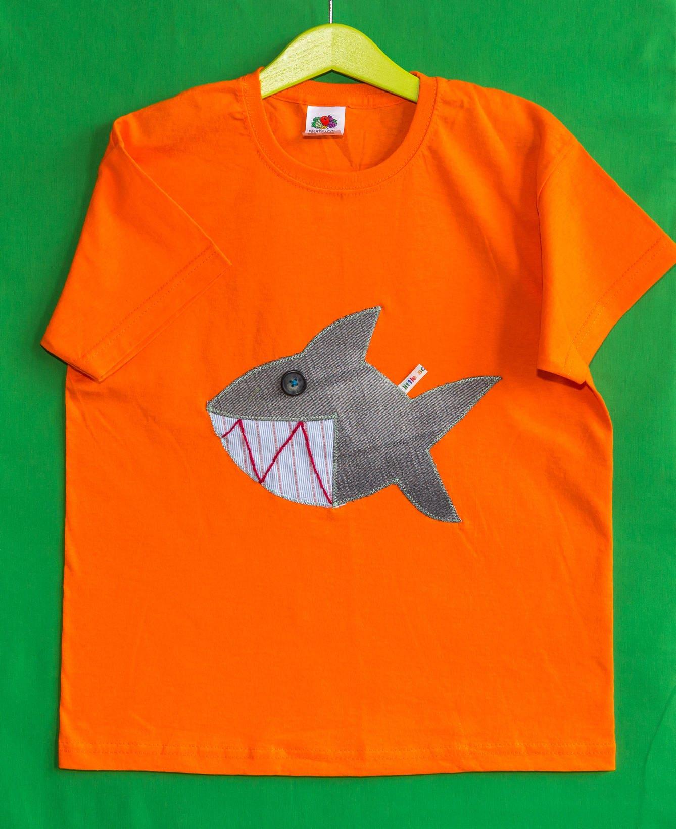 Little Sausages unique children appliqu TShirt Shark animal motif 100 cotton 78 orange boys girls kids