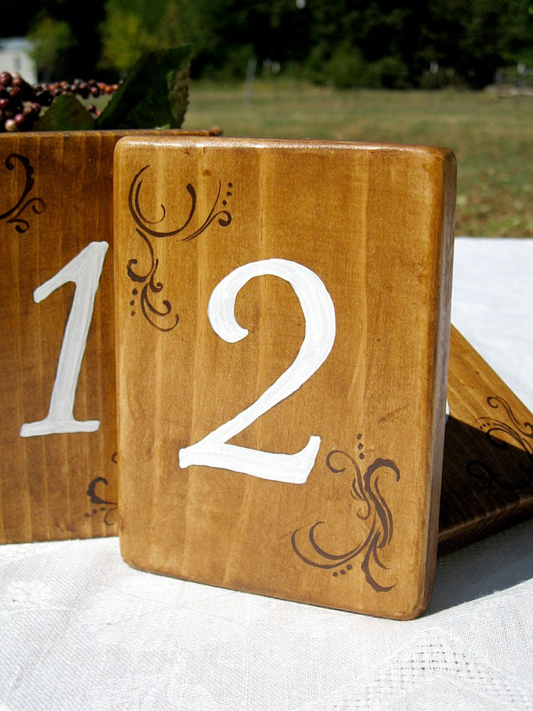 Rustic wedding table numbers wooden set of by