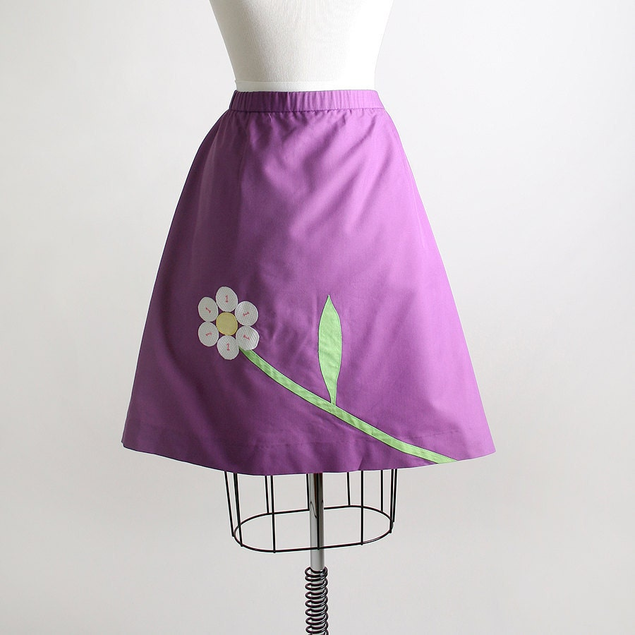 Vintage Novelty Skirt - 1970s Golf Applique Sporty Sport Mini Skirt - XL Spring Summer Fashion