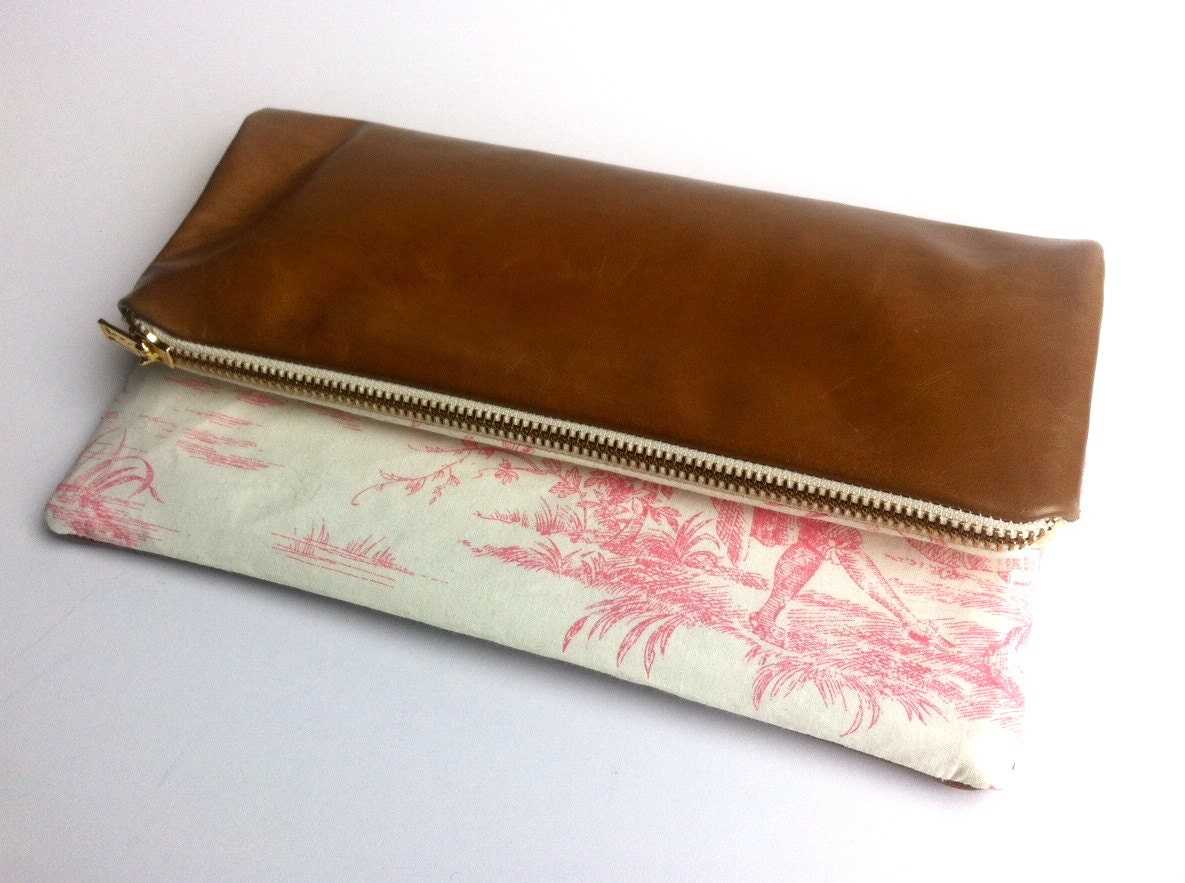 SAMPLE SALE Limited edition clutch bag with vintage style print and tan leather small