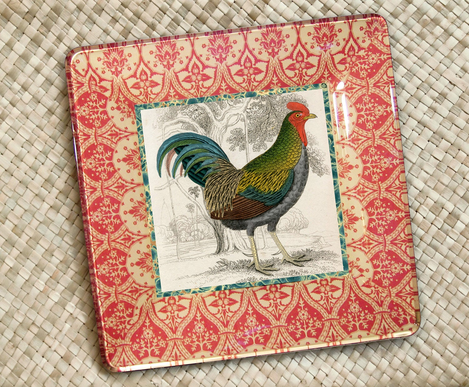 Red Country Wall Decor : Rooster plate decor roosters by glasspaperscizzors
