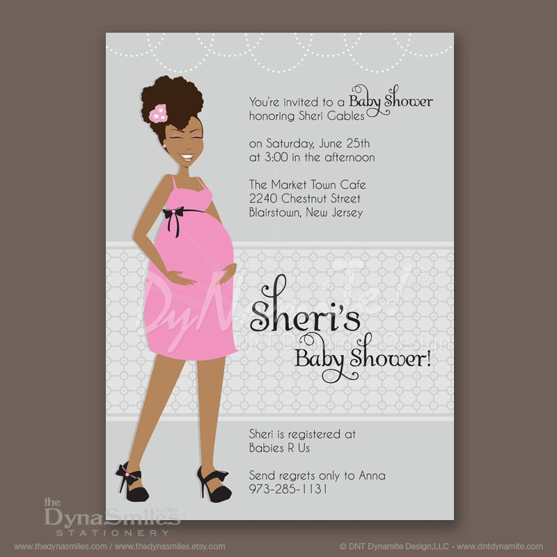 Pregnant Diva - Baby Shower Invitation - African American - Natural Hair Style