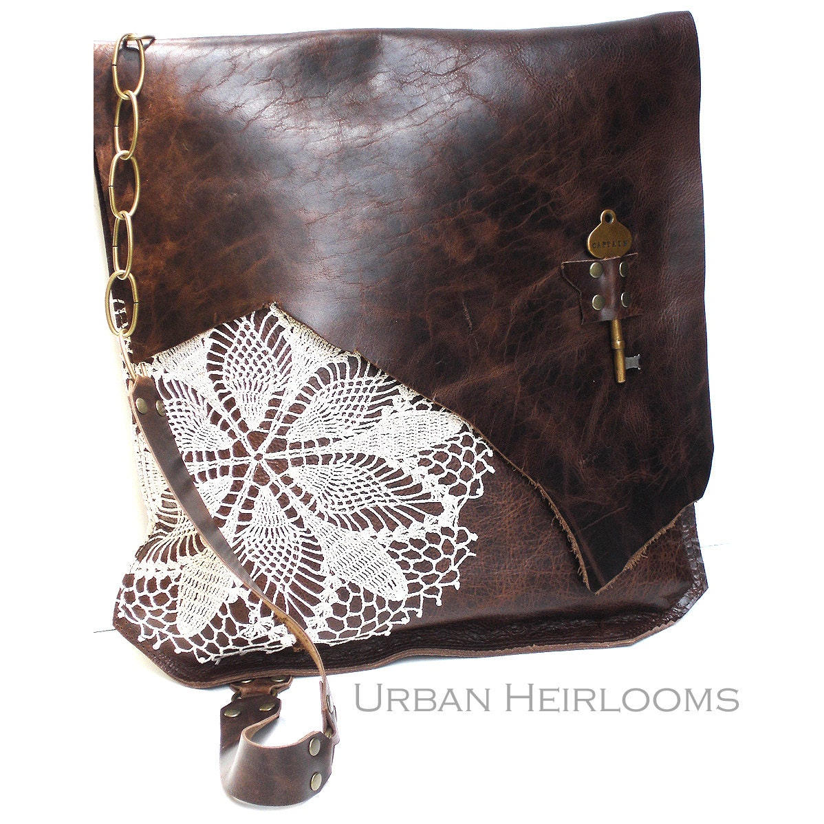 Leather Crochet Bag : Brown Leather Boho Messenger Bag with Crochet Lace & Antique Key - XL ...