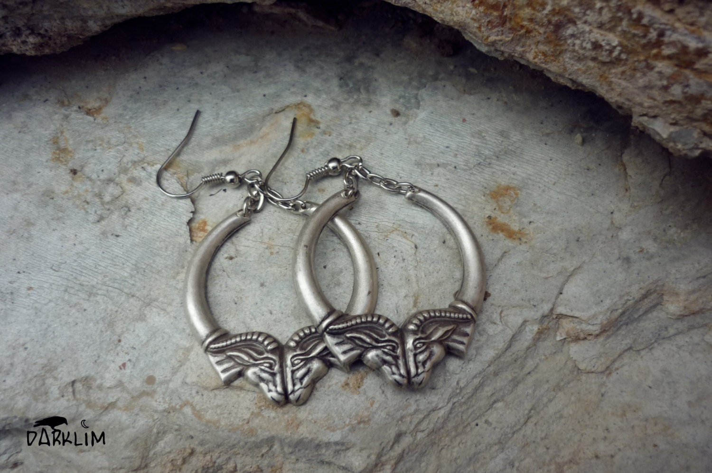 Ram Rings Sterling Silver Earrings Satanic Gothic By Darklim
