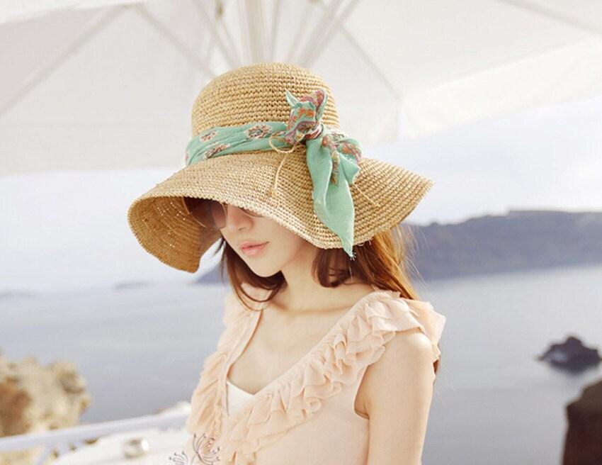 crochet  women sun hat with wide brim  accepting custom order - Magicdoll
