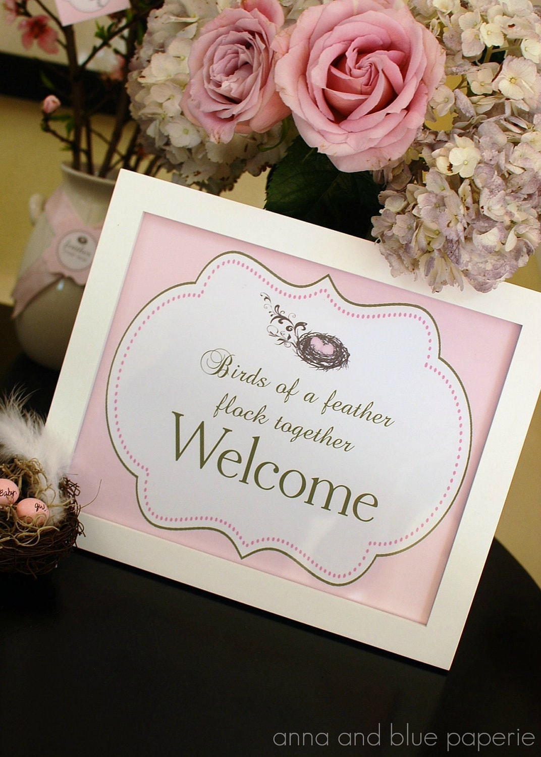 her nest baby shower party sign custom printable diy welcome sign