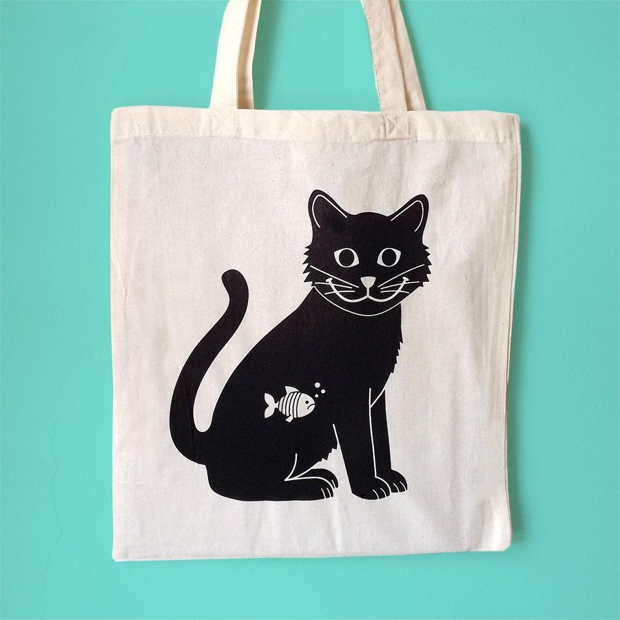 Cat Tote Bag Black Cat Tote Screenprint Tote Happy Cat Bag Animal Tote Handprinted Tote Bag Cute Tote Bag Illustrated Tote Cat Bag
