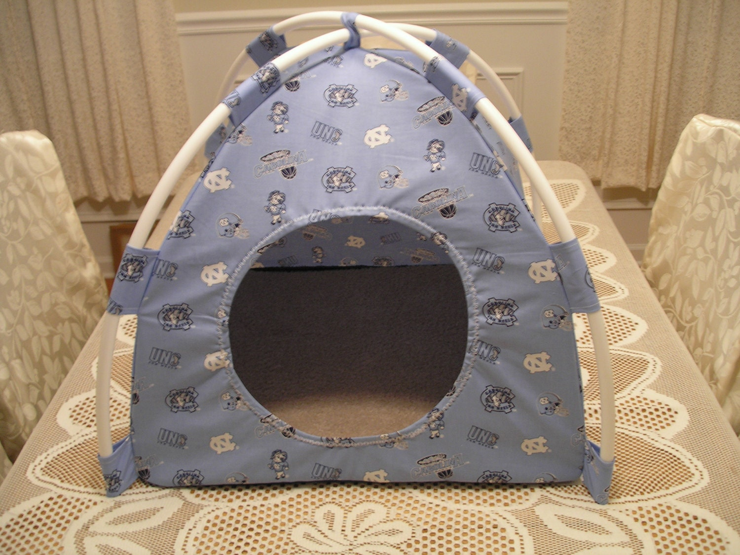 items similar to large college unc tarheels pup tent pet bed for cats dogs ferrets piggies a. Black Bedroom Furniture Sets. Home Design Ideas