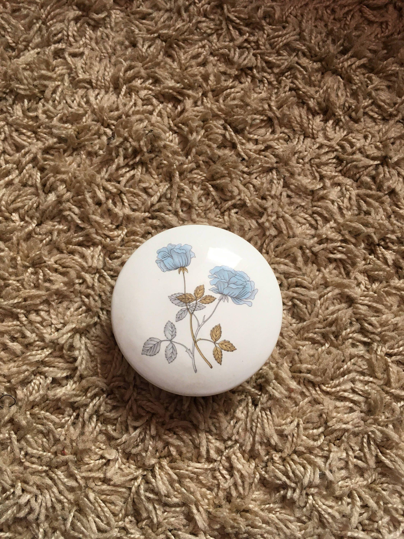 Beautiful Wedgwood Bone China Pale Blue Floral Design Trinket Dish!