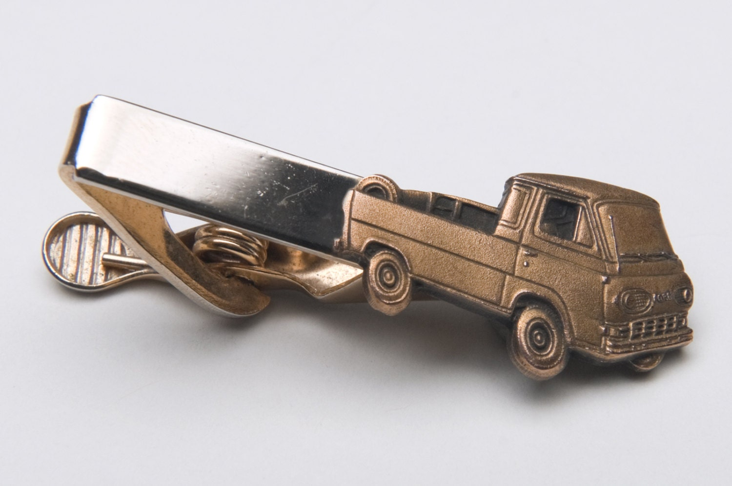Vintage Tie Bar Clip Ford Econoline Pickup Advertising Ford brass silver tone  #19 - VenusAnMars