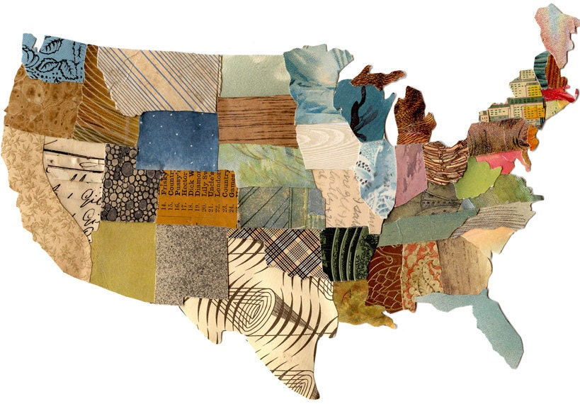 U.S. map contiguous, United States map, cut paper US map, collage US map, mixed media US map