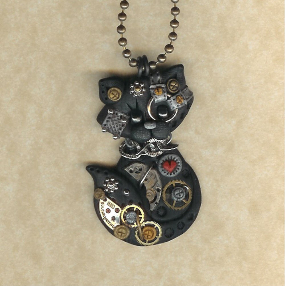 Steampunk Black Kitty Cat Polymer Clay Jewelry By Freeheart1