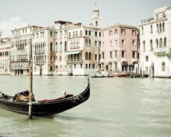 Venice Photography  Black boat Enchanting Venice Italy  white pastel pale pink dreamy soft light  - Bella Venezia - 8x10