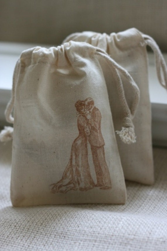 to muslin gift favor bag VinTaGe CouPLe x10, wedding muslin favor bags ...