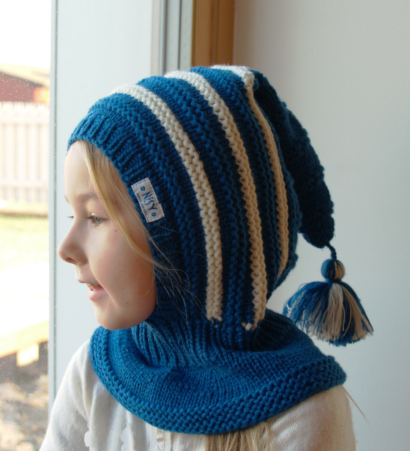 Knitting Pattern Balaclava Child : Knit Balaclava for Baby, Toddler, Child Hoodie Hat with Tail and PomPom, Wool...