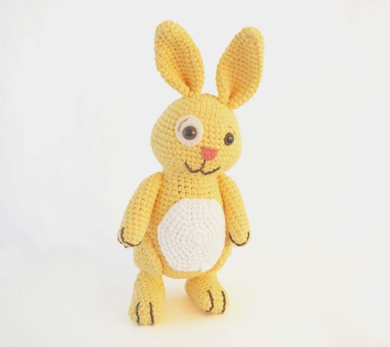 Crochet Stuffed Rabbit Toy Amigurumi Bunny - Yellow - HerterCrochetDesigns
