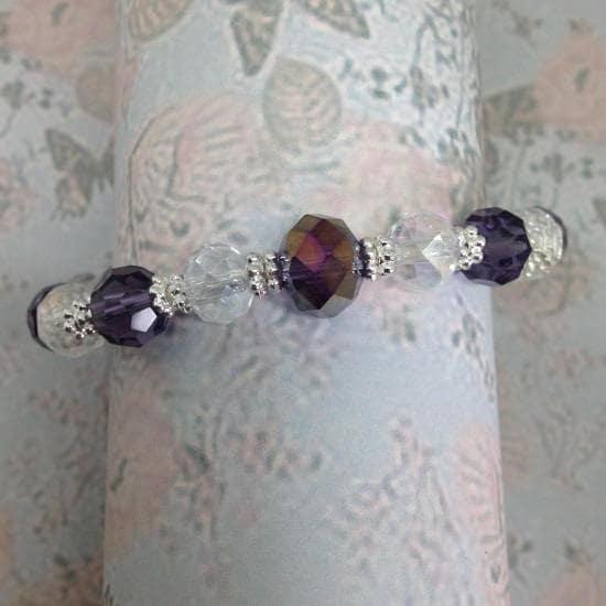 Amethyst Purple And Clear Handmade Crystal Beaded Stretch Bracelet (Adult)  Crystal Bracelet Wedding jewellery