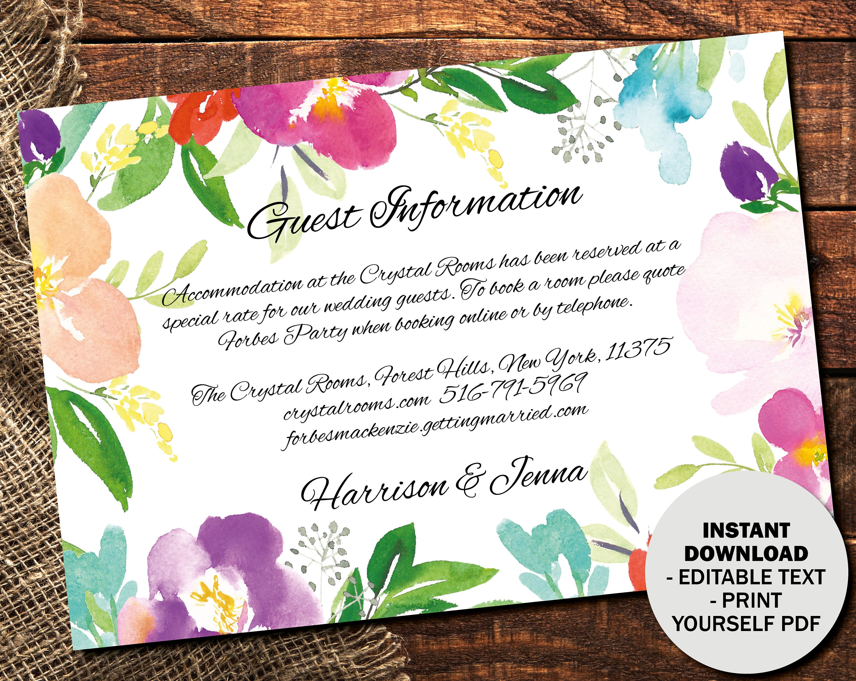 Wedding Guest Information Template Editable Wedding Guest Information Text Editable Template Printable Watercolor Flower Border 1 INFO1