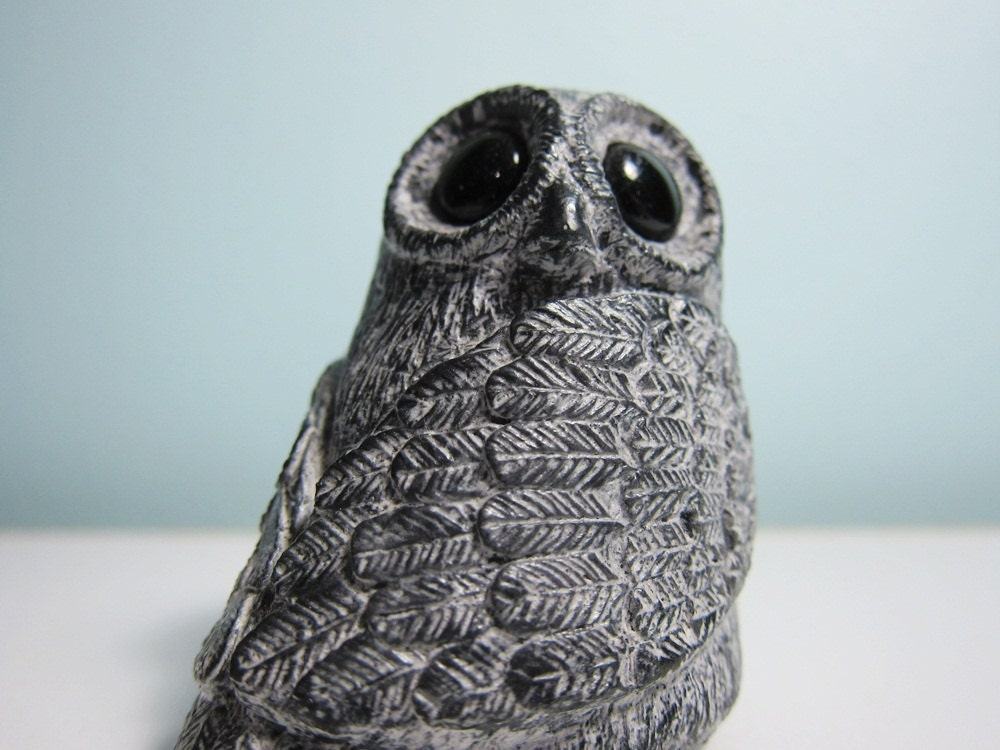 Vintage big eyed owl soapstone carving wolf by lonelybear