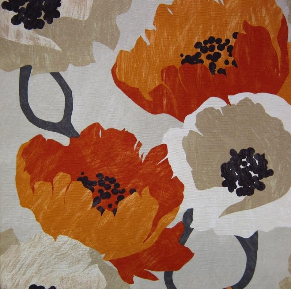 Orange and blue decorator fabric