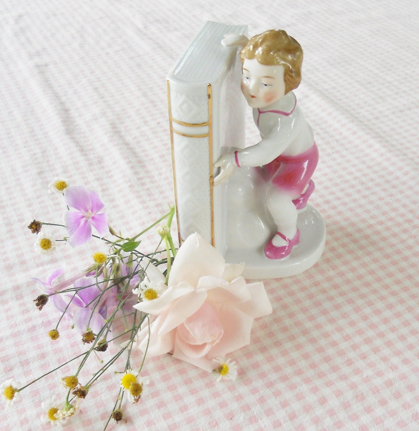 Boy and Book Figurine Bookend - Made in Germany - Vintage, French Decor, Farmhouse, Christmas, Gift, Wedding, Shabby Chic