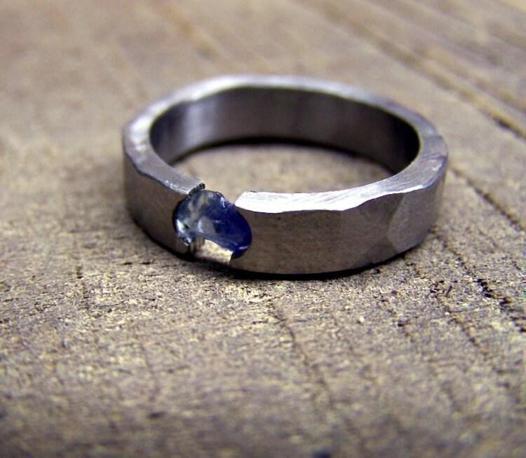 Titanium Wedding Ring Rough Sapphire Tension Set By RobandLean