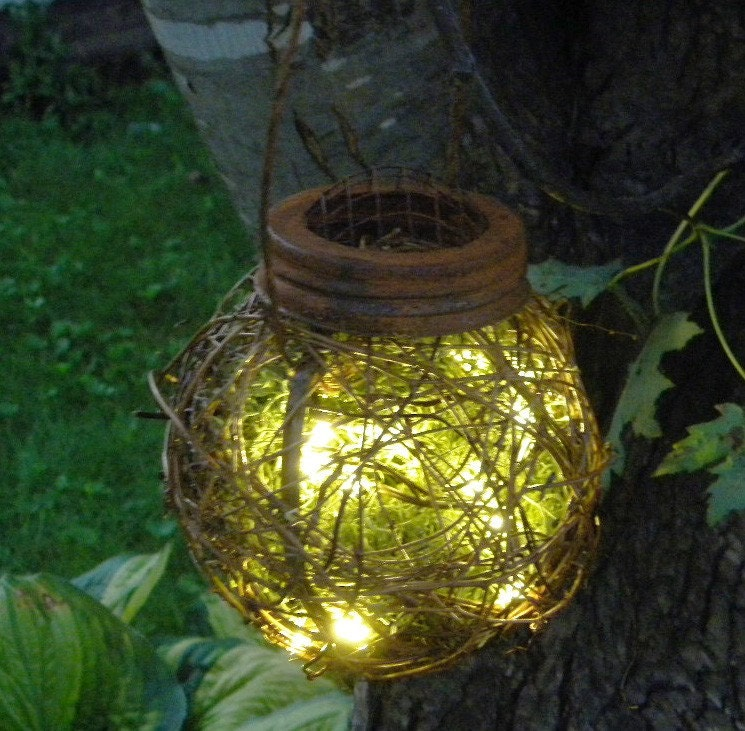 Rustic Outdoor Firefly Lantern Woodland Garden Wedding