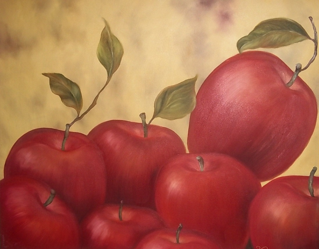 50% OFF- Red Apples, 24x30 original oil painting - KarlaVoelkerArt