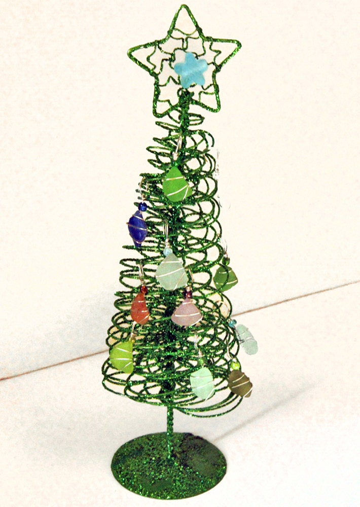 Sea Glass Ornaments And Glittery Christmas Tree By