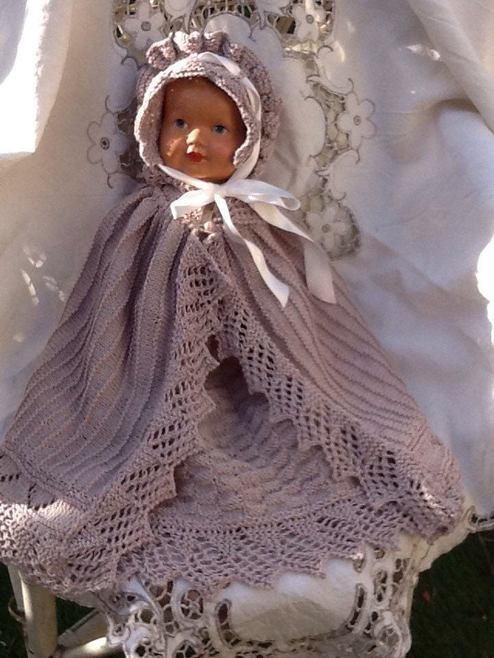 Unique hand knitted Victorian style babies reborn dolls vintage dolls or antique dolls dress cloak bonnet