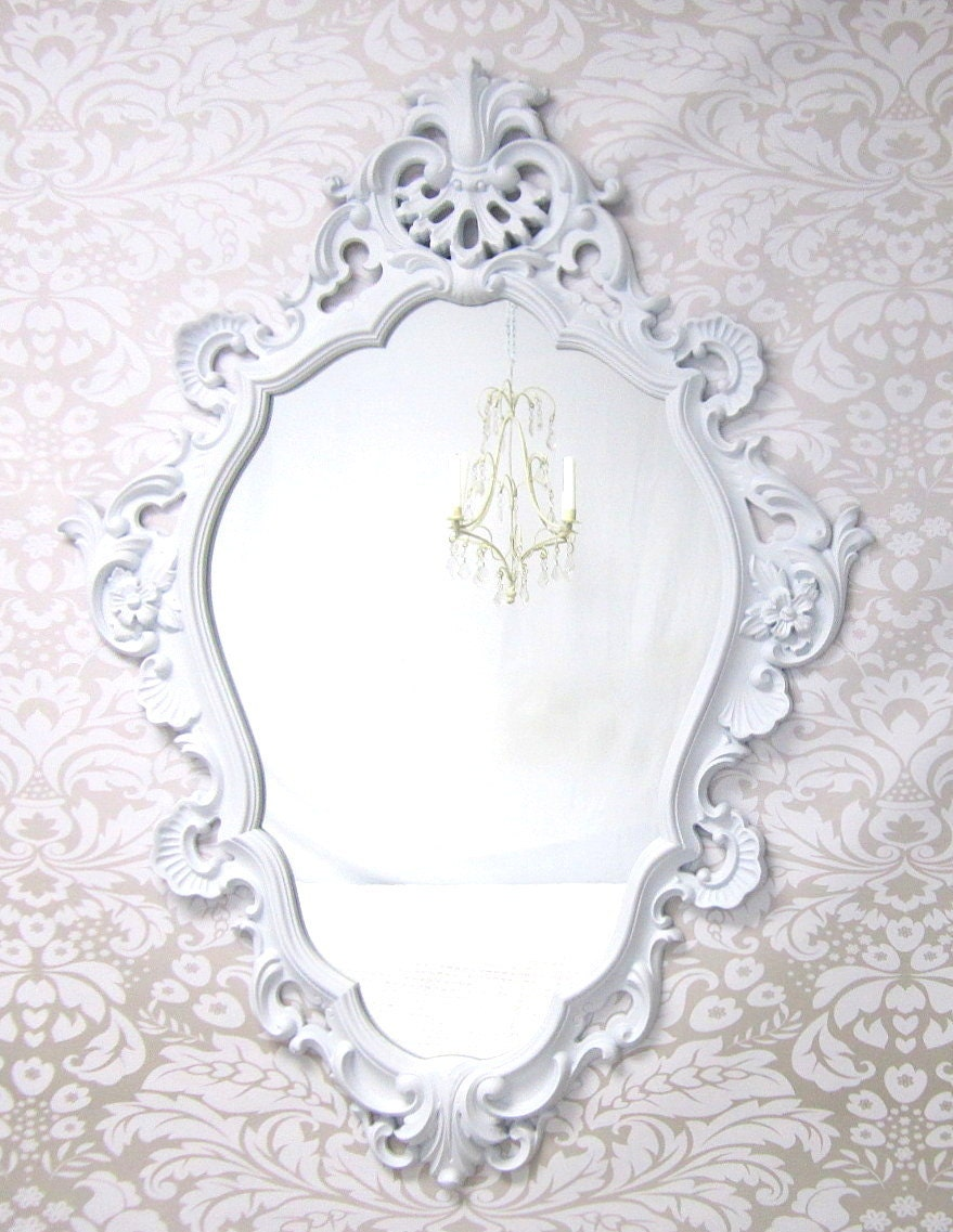 White hollywood regency mirrors for sale 46x33 by for Large white mirrors for sale