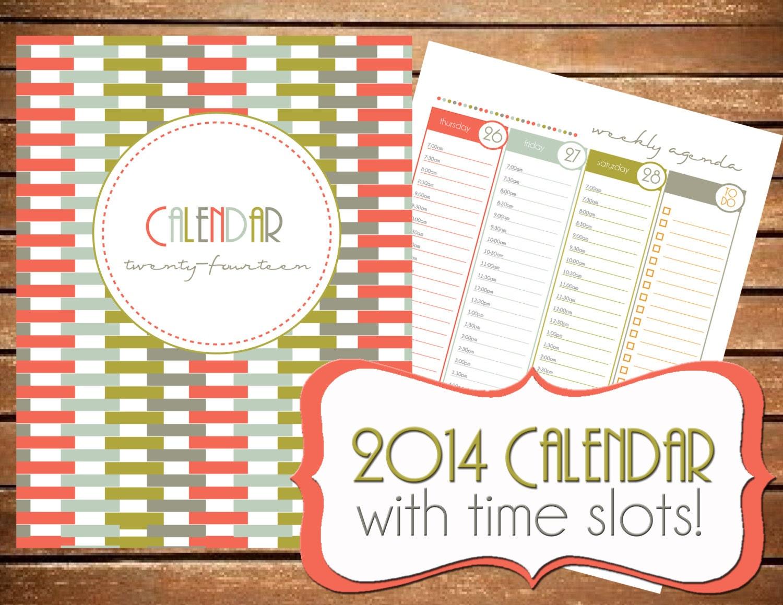 Download - 2014 Printable Calendar with time slots - 2014 Printable ...