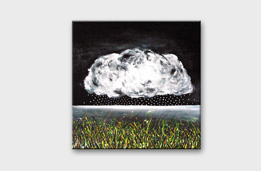 Modern painting on canvas Original landscape art Black and white Cloud Rain abstract art / Acrylic contemporary art for home decor wall art - AstaArtwork